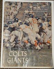 Sept 15, 1963 Baltimore Colts vs NY Giants Official Program