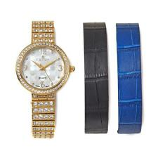CROTON GOLDTONE MOTHER-OF-PEARL INTERCHANGEABLE LEATHER STRAP BRACELET WATCH HSN