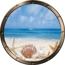 "12"" Porthole Ocean Window SEA SHELLS BEACH #2 ROUND Wall Graphic Decal Sticker"