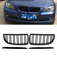 Gloss Black Double Line Front Grille For BMW E90 320i 323i 328i 335i Sedan/Wagon
