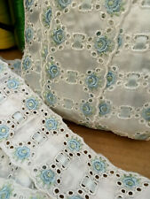 """5 YDS LOT~1970's Broderie Anglaise Trim Edging Braid~2&1/4""""=56MM~Blue~Made in UK"""