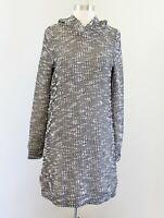 Fabletics Yukon Sweater Dress Size S Hooded Tweed Shift Black Ivory