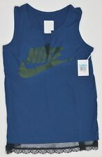 Nike Graphic Tank Top Front Mesh Lined with Lace Trim Womens M Blue NEW 5982