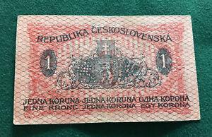 CZECHOSLOVAKIA REPUBLIC 1919 ISSUE 1 KORUNA BANKNOTE SCARCE.