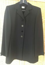Viyella Petite Lovely Long Smart Button Up Black Blazer Jacket UK Size 12 Lined
