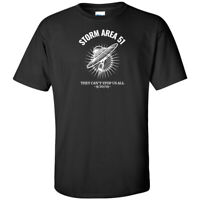 Storm Area 51 They Cant Stop Us All UFO White Logo T Shirt NASA Meme Alien Event