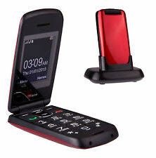 TTfone Star Big Button Simple Easy Senior Flip Sim Free Mobile Phone - Red