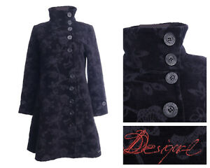 DESIGUAL Black Cotton Embroidered Floral Mid Length Coat Size 42