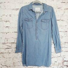 GIRL KRAZY Size M Light Blue Denim Long Sleeves Roll Up Tab Women's Shirt Dress