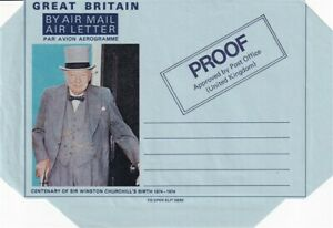 9 OCT 1974 WINSTON CHURCHILL CENTENARY PROOF AIR LETTER UNUSED
