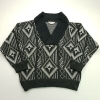 RETRO Mens Vintage Abstract BAGGY FIT Pullover MEDIUM Wool Sweater Jumper Knit