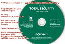 Kaspersky Total Security 2016 GENUINE DVD for Installation + Rescue NO LICENCE