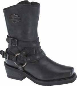 HARLEY-DAVIDSON FOOTWEAR Women's Ingleside Black Leather Motorcycle Boots D87091
