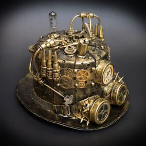 Steampunk Top Hat Mad Scientist Time Traveler Masquerade Mask Accessory [Gold]