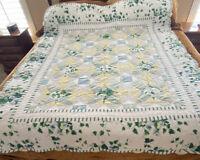 Vintage Green Blue Patchwork Star Pattern Quilt Flowers 63 X 80 Tattered