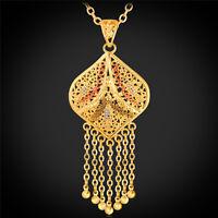 U7 Retro Style Tassel Pendant Necklace 18K Gold Plated Trendy Rolo Chain f Women