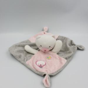 Doudou plat chat gris rose blanc pois MOTS D'ENFANTS - Chat, Lion, Tigre Plat, S