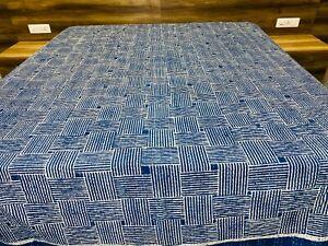 Indigo Blue Hand Block Print Kantha Quilt Cotton Bedspread King Size throw