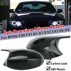 2x Carbon Rearview Wing Mirror Cover Cap For BMW E90 E91 05-07 PRE-LCI E92 E93
