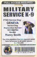 Holographic Military PTSD Working Dog ID Badge Service Dog K-9 ID Card 17