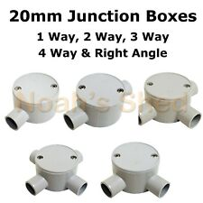 20mm Junction Box 1 2 3 4 Way Right Angle Electrical Conduit Round Shallow Grey