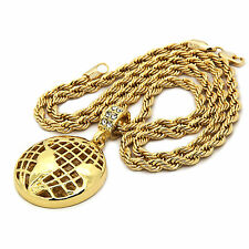 """Mens 14K Gold Plated Globe World Hip-Hop 4 mm/24"""" Rope Chain With pendant"""