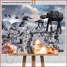 Star Wars Framed Canvas Print Battle For Hoth At-At Walker Rebel Fighters Jedi