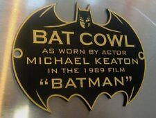 CUSTOM BATMAN 1989 COWL PROP DISPLAY PLACARD SIGN PLATE