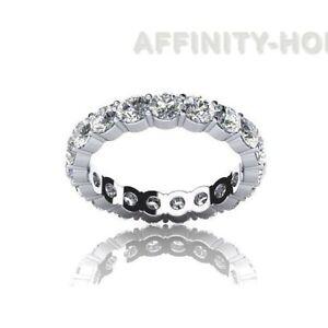 Summer Sale 1 CT Round D/VVS1 Eternity Wedding Ring 14K White Gold Womens Band