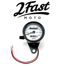 2FastMoto White Face Speedometer w/ Trip Odometer Honda Cafe Race CB CL