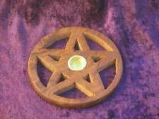 Wooden Pentagram Pentacle Incense Cone Holder Plus Mixed Incense Cones