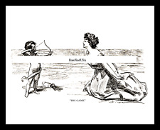 1895-rpt GIBSON GIRL CUPID Charles Dana Gibson Sweet Valentine Drawing MATTED
