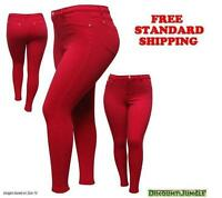 1826 jeans WOMENS sexy PLUS SIZE MOLETON RED SKINNY LEG Stretch Cotton pants