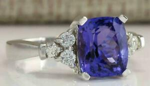 3Ct Cushion Cut Blue Alexandrite Engagement Ring 14k White Gold Finish