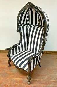 FRENCH BALLOON CHAIR/ THRONE/ ORNATE WEDDING/ BLACK/ WHITE STRIPED/ CANOPE/ NEW