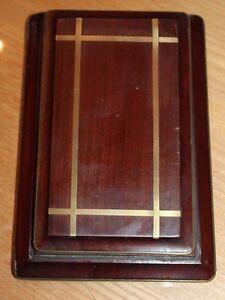 ancien  porte bloc notes de bureau en bois et bronze
