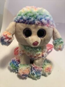 """Official TY 11"""" Rainbow Poodle Back Pack Dog Puppy Bag Carrier Beanie Boo"""