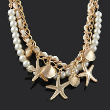 Women's Multilayer Bracelet Shell Starfish Pearl Fashion Stretch Adjustable