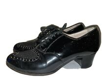 Vintage 1930s Arch Fame New York Black Patent Leather Wingtip Oxford Pumps 8C