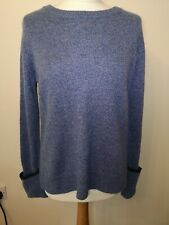 The White Company Contrast Blue Crew Knit Soft Wool Blend Relaxed Jumper UK 12