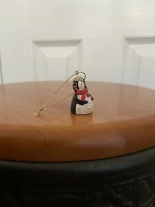vintage mini penguin wood christmas hanging ornament wooden snowflake hat bow