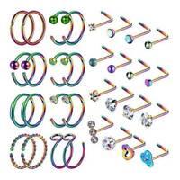 32PCS/LOT Nose Hoop Ring L Screw Bone Shaped Nose Studs Lip Ear Piercing Set 20g