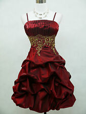 Cherlone Satin Burgundy Sparkle Prom Party Cocktail Ball Evening Dress UK 18-20