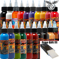 Infinitii Tattoo Ink 20 Colors 2oz Set - Box of 8 Round Liner Needles Free Gift