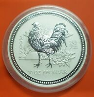 AUSTRALIA 10 ONZAS 2005 LUNAR SERIE YEAR OF THE ROOSTER SILVER $10 OZ MINT