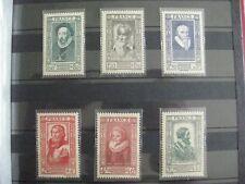 timbres français : célébrités du XVI siècle 1942 YT n° 587 à 592 *