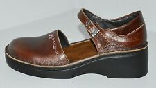 NAOT Brown Leather Buckle Strap Mary Janes Wedge Sz 37 EU / 6 US GC ~ADORABLE~