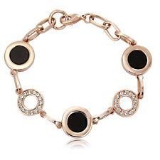 Black and Rose Gold Tone Medallion Bracelet with Swarovski Crystals OU30133