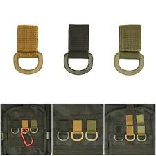 1Pc Tactical Multifunction Nylon Molle Webbing Belt D Ring Carabiner Buckl Black