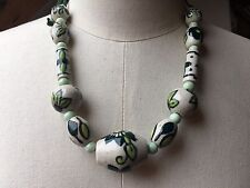 Pretty Painted Floral Bead Necklace/New & Tags/Ceramic/TU/Summer/Hippy/Boho